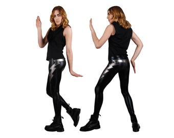 Men's Double Lightning Bolt Leggings, Black Leather-Look Spandex Pants, Meggings, Glam Rock Clothing, Heavy Metal Stage Wear, by LENA QUIST