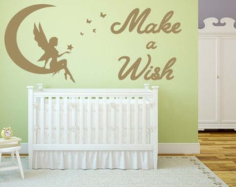 Make a Wish - Matt Vinyl Wall Art Sticker Decal Mural, Children's Bedroom, Playroom, Nursery. Fairy, Moon