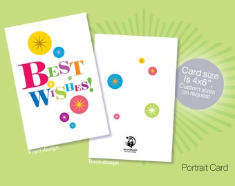 Printable BEST WISHES Cards, Instant download Best Wishes cards, Congratulations cards, Colourful Cards