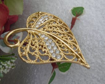 Rhinestone Leaf Brooch Pin, Gold Tone Filigree