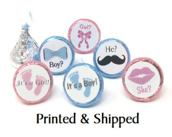 Printed 324 Gender Reveal Baby Shower Stickers for Chocolate Kiss® Lips, Bows, Mustache, Baby Feet etc. Chocolate Kisses for Party Favors