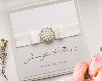 Pearl Wedding Invite in Ivory and cream
