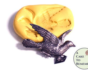 "2"" carrier pigeon mold for cake decorating or cupcake toppers. Silicone mold for jewelry making and soap embeds. Craft supplies M5228"