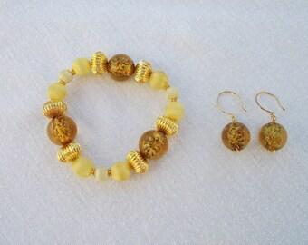 Yellow vintage beaded bracelet set satin beads and glass beads