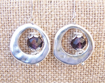 Birthstone earrings silver birthstone earrings Swarovski crystal metal dangling earrings