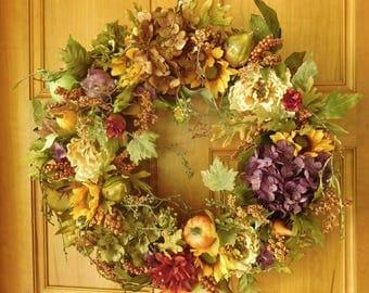 Fall Wreath , Autumn Wreath ,  Fall Door Wreath , Woodland Wreath , Wreath , Thanksgiving Wreath , Harvest Wreath , Rustic Wreath