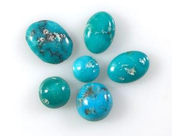 Six Rare Natural Persian Turquoise Cabochons