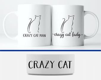 Crazy Cat People Mug and Pet Bowl Set: Crazy Cat Lady and Crazy Cat Man Coffee Mugs