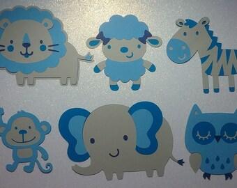 Set of 6 Animal Die Cuts - Blue - Baby Boy