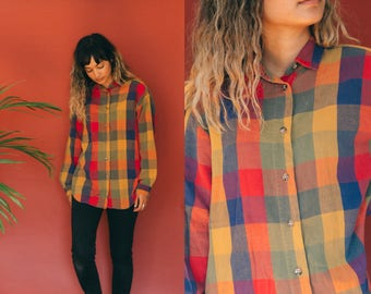 Multicolor Plaid Shirt / 90s Flannel Shirt / Rainbow Soft Button Up / Knit Long Sleeve Buttoned Collared Shirt / Unisex 90s Grunge Oxford