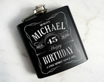 Personalized Birthday Flask. Custom Flask, 21st Birthday Flask, Hip Flask, Whiskey Flask