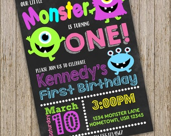 Monster Birthday invitation, Little Monster Birthday Invitation, First Birthday Invitation,Girl 1st Birthday Invitation,Printable Invitation