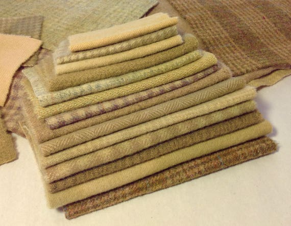 Applique Wool, Wool Fabric Mix of Primitive Golds, Nugget Golds, Old Golds, Light Golds, W353, Bits and Pieces of Wool Fabric