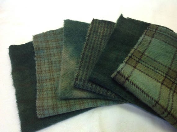 6) fat 1/16ths, Evergreen Textures, Hand Dyed wool fabric for Rug Hooking and Applique, W358, Green Blue Wool Textures