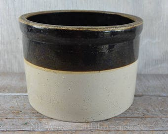 Antique crock, farmhouse crock, stoneware, dark brown and beige
