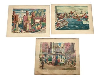 Vintage 3pc Ralph Mapson Prints,  signed Serigraphs of San Francisco c1950, California Street, Turntable, and the bay