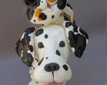 Dalmatian dog with cat business card holder.  hand made, clay dogs, dalmatians, cute dogs, stoneware dog ceramic, by Pencepets, Pence
