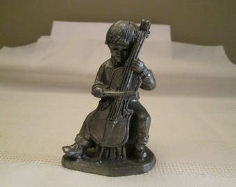 """Vintage Pewter Piece """"Frank""""  Michael Ricker Pewter, Pewter Collectors, Numbered 381, Cello Player"""