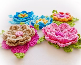 Rainbow  Crochet Flowers Set-5 Flowers