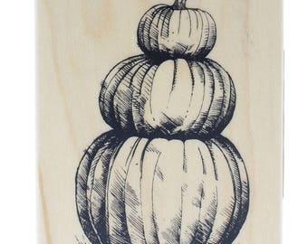 Inkadinkado Halloween Pumpkin Stack Trio Thanks Giving Wooden Rubber Stamp