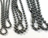 3mm chaîne en argent Sterling perle collier - 3,0 mm chaine boule - bijoux pour hommes - oxydé ou brillant finition
