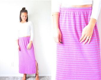 20% OFF JULY 4th SALE Vintage Small purple pink striped high waisted skirt // midi maxi skirt // summer skirt // 90's skirt // Hanna Anderss