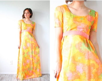 40% OFF CHRISTMAS in JULY Vintage yellow modest maxi dress // floral summer dress // maxi yellow pink dress // 70's dress // Hawaiian maxi d