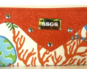 clutch bag orange coral faux leather fold over purse