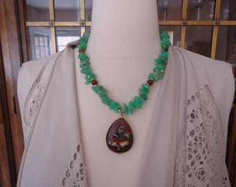 Vintage Beaded Chrysoprase and Amber Necklace w/ Gold Filled Accents and Cloisonne Pendant