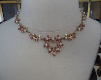 Vintage Rhinestone and Faux Pearl Choker Necklace, Pink and White in Gold Tone, 16""