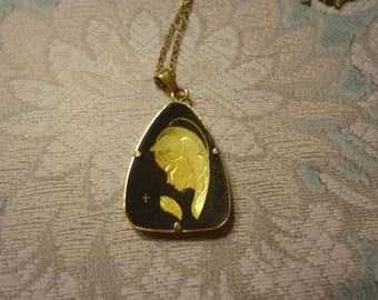 "Vintage Damascene Pendant Necklace, Praying Madonna on 20"" Gold Tone Chain"