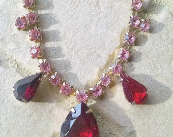 Rhinestone Necklace Pink Red Vintage Wedding Prom Jewelry Jewellery Accessory Choker Hollywood Regency Waldorf Gift Guide Women