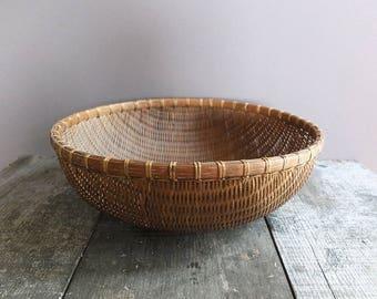 Vintage Woven Harvest Basket / Wall Hanging Basket