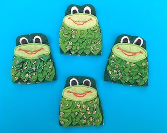 Vintage 60s 70s Set of 4 Psychedelic Frog Egg Cosies