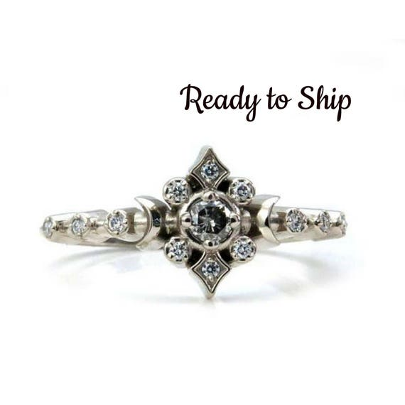 Ready to Ship Size 6 - 8 - Gray and White Diamond Tiny Moon and Star Engagement Ring with Diamonds
