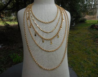 Vintage 1960s to 1970s Gold Tone 5 Strand Chains Long Necklace Dangles Signed Napier Multistrand Different Chains Long