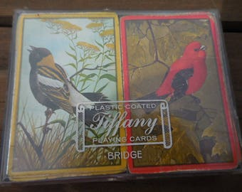 Vintage 1960s to 1970s Plastic Coated Tiffany Playing Cards Bridge Double Decks Red/Yellow Birds Retro Used