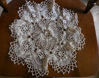 Vintage 1950s to 1960s Off White Doily Round Crocheted Large Flower Like Crochet Furniture Protector Coffee Table/End Table