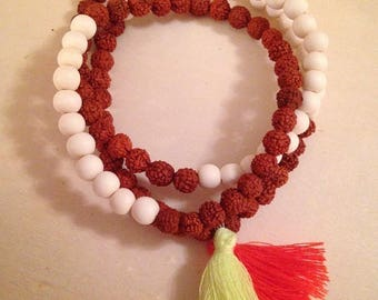 Stacking bracelet, Tassel bracelet, neon, rudraksha beads, white wood beads, yoga bracelet, unisex jewelry, mala beads, prayer beads