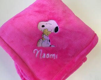 Embroidered Personalized Snoopy Baby Blanket