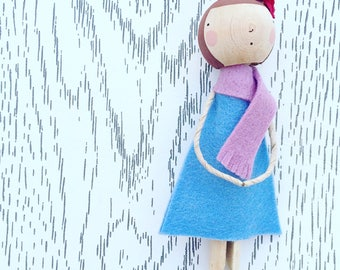 C L O T H E S  P E G  D O L L Y in wool felt dress and scarf