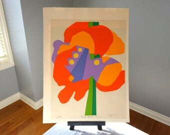 Mid Century Modern Silkscreen signed by listed artist Maria Termini titled Passion Flower no.1