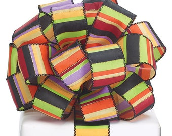 "Ribbon by the yard, Wired 1.5"" Black Satin with Colored Stripes, Fall, Halloween, Crafts, Wreath making, Arrangement, Scrap-booking, Gifts"