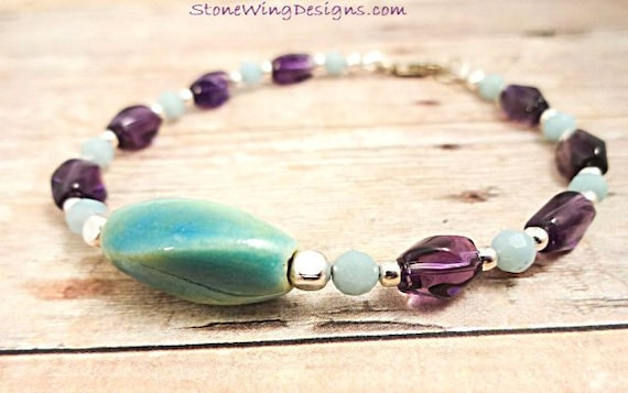 Amethyst and Amazonite Gemstone Bracelet, Ultra Violet Jewelry