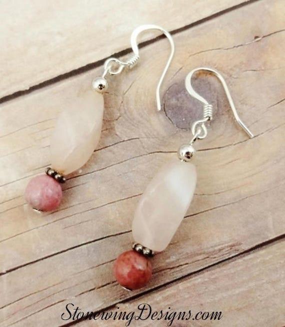 Rose Quartz and Rhodonite Earrings, Natural Pink Stone Earrings