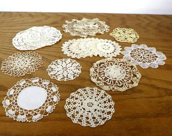 15 Vintage Small Round Crocheted and Needle Work Doilies Crafting Doilies Retro Linens Farmhouse Home Decor