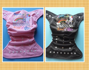"""SassyCloth one size pocket diaper with """"Rainbow and unicorn kind of day"""" embroidery. Ready to ship."""