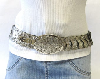 Silver Metal Stretch Belt Fancy Paneled