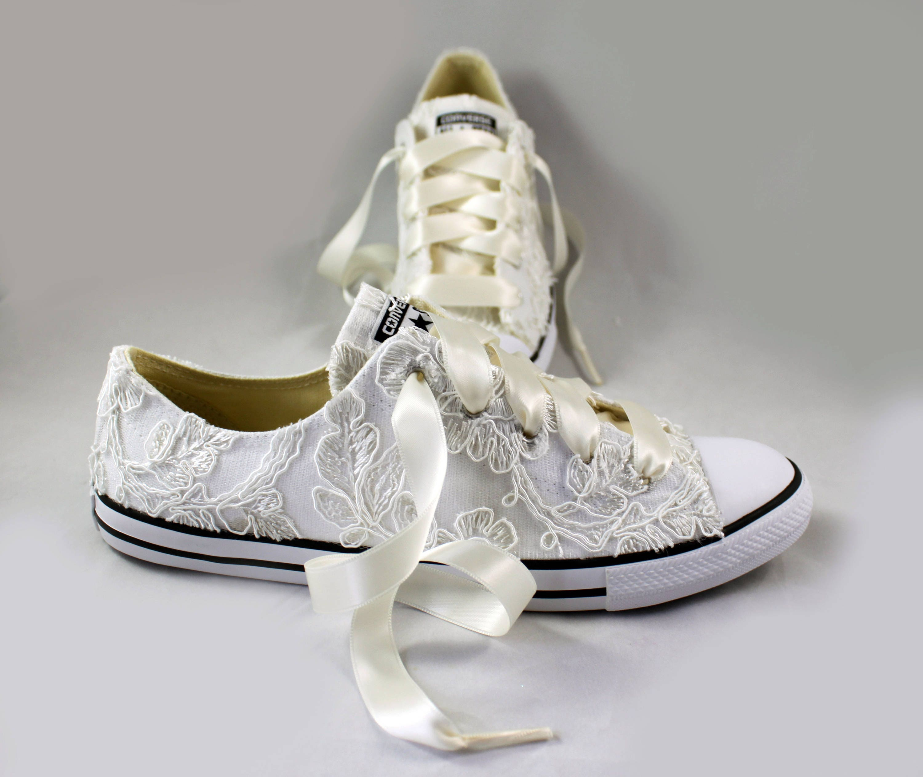 wedding tennis shoes custom white floral lace wedding converse for kellypricems 1194