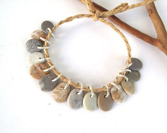 Stone Beads Drilled Rock Jewelry Charms Mediterranean Beach Stone River Stone Natural Stone Pebble Pairs PASTEL CHARMS 12 mm